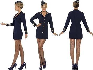 Ladies Blue Air Hostess Fancy Dress Costume BA Style - Size Small 8-10  sc 1 st  Amazon UK & Ladies Blue Air Hostess Fancy Dress Costume BA Style - Size Small 8 ...