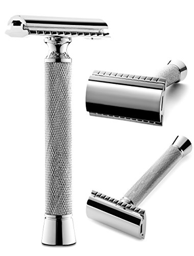 Perfecto Professional Double Edge (DE) Safety Razor for Men | Long Handle for Comfortable Wet Shaving|Stylish Luxury Chrome Finish|Enjoy the Closest Shave with Zero Irritation|Perfect Gift for Him