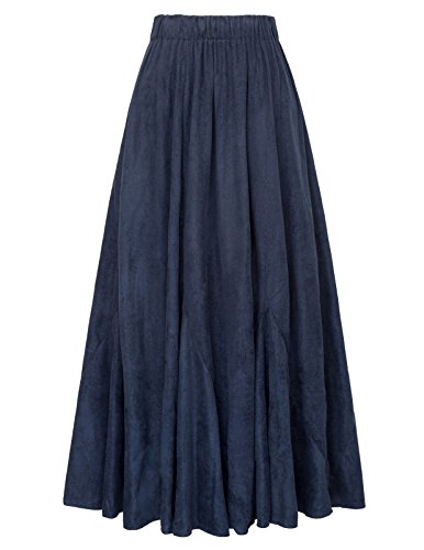 GRACE KARIN Women Retro Vintage Pleated Elastic Waist Faxu Suede A-Line Long Skirt Size S Navy Blue (Long Skirts Winter)