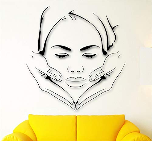 Ksiae Removable Vinyl Wall Stickers Act Mural Decal Art Home Decor Massage Spa Face Makeup Sexy Girl Beauty Salon Home Decoraiton ()