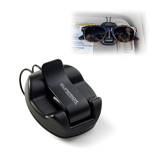 Superior Essentials Sunglasses Holder for Sun Visor/Air Vent - Conveniently Holds Sunglasses - Easy One Handed ()