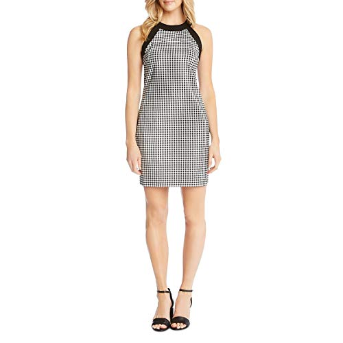 Karen Kane Women's Contrast Check Halter Dress Check Medium