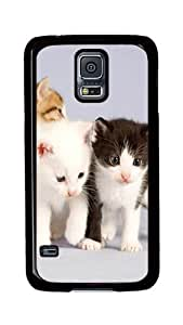 Samsung Galaxy S5 Case, S5 Cases - The Cute One Pair Of Black And White Cat Ultimate Protection Scratch Proof Soft TPU Rubber Bumper Case for Samsung Galaxy S5 I9600 Black