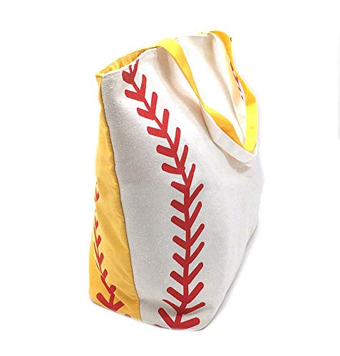 Half Softball Half Baseball Lace Bag Stripes Stitching Print Canvas Tote Sports Game Travel - Softball Baseball Bags