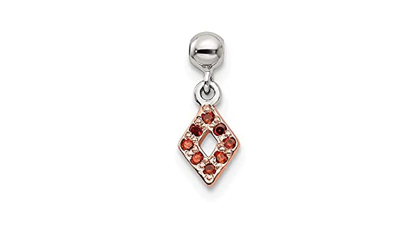 925 Sterling Silver Mio Memento Rose Tone with Red CZ Dangle Charm