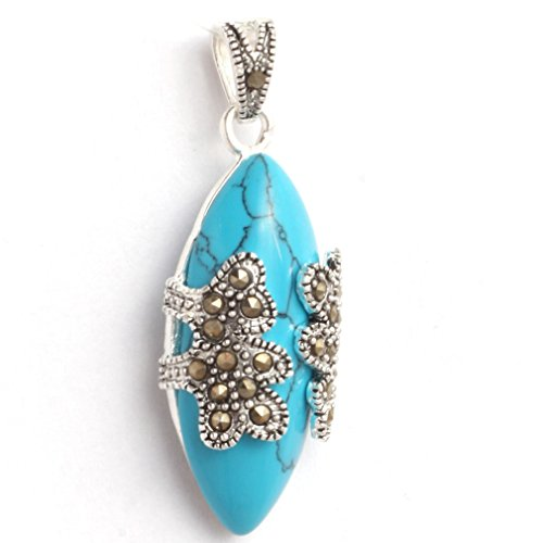 Cat Turquoise Pendant - 15x42mm Oval Dyed Blue Turquoise Beads Marcasite Tibetan Silver Pendant
