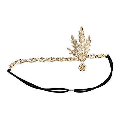Price comparison product image BESTOYARD Crystal Headpiece Art Decor 1920's Flapper Leaf Headpiece Tiara Headband (Gold)