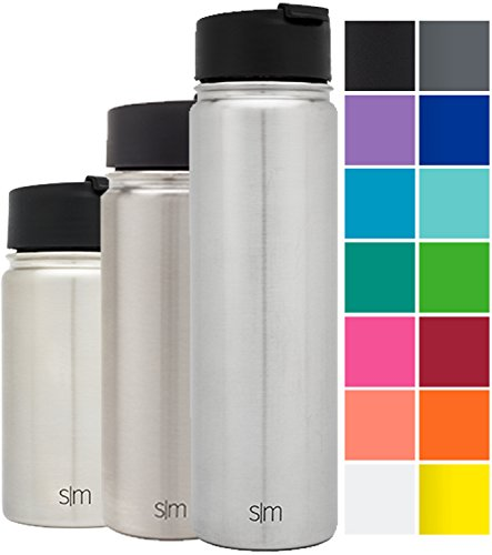 Simple Modern 22oz Summit Water Bottle + Extra Lid - Vacuum Insulated Stainless Steel Wide Mouth Hydro Travel Mug - Powder Coated Double-Walled Flask - Simple Stainless