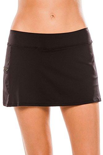 BEACH HOUSE WOMAN Women's Sport Solid Pull on Skort Bikini Bottom with Zip Pocket, Black, 14