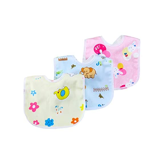 Uber World Cotton Unisex Baby Fleece Water Proof Printed Bibs (Medium, Multicolor, 3 Piece)
