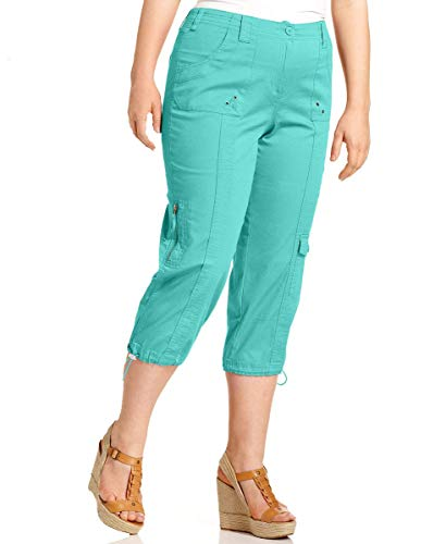 Style & Co. Womens Plus Size Cargo Capri Pants (Pacific Aqua, 24W)