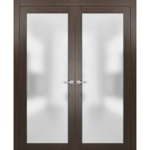 French Lite Frosted Glass Doors 72 x 96   Planum 2102 Chocolate Ash   Frames Trims Satin Nickel Hardware   Bedroom Hall Solid Core Wooden Panels