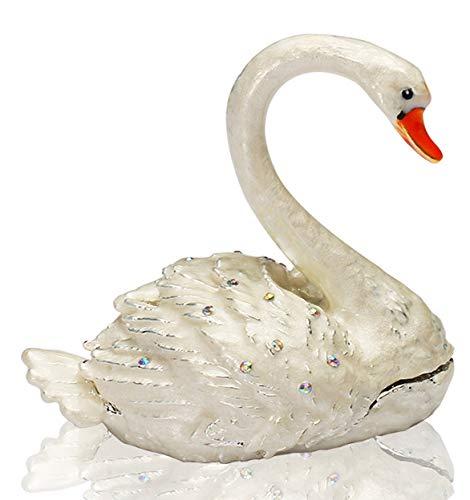 YU FENG Swan Ring Holder Trinket Box Hinged Handmade Jewelry Gift Trinket Collectible Figurine (Swan Ring Holder)