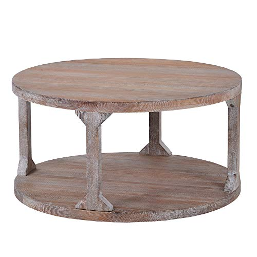 ASYPS Industrial Design Rustic Round Coffee Table Solid Wood+MDF Coffee Table for Living Room with Dusty Wax Coating(Beige