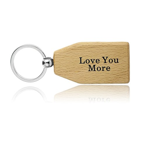 Wooden Anniversary Gifts Love You More Couples Boyfriend Girlfriend Husband Valentine Wife Wood Keychain Key Tag 5th Anniversary ~ Anniversary Gifts for ...