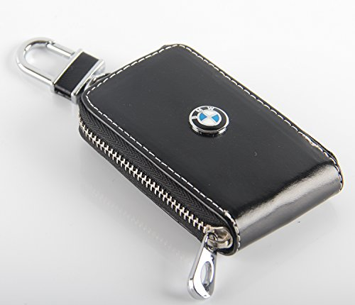 Key chain Bag window black Genuine Leather Ring Holder Case Car Auto Coin Universal Remote Smart Key cover Fob Alarm Security Zipper keychain Wallet Bag (BMW)