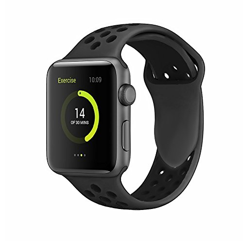 Band4u Apple Watch Band 42mm 38mm,Soft Silicone Strap Replacement Wristbands For Apple Watch Sport Series 3 Series 2 Series 1 NIKE+ Sports and Edition (42mm Black/grey)