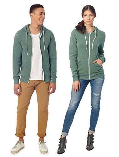 Alternative Men's Rocky Zip Hoodie Sweatshirt, Eco True/Dusty Pine, Large
