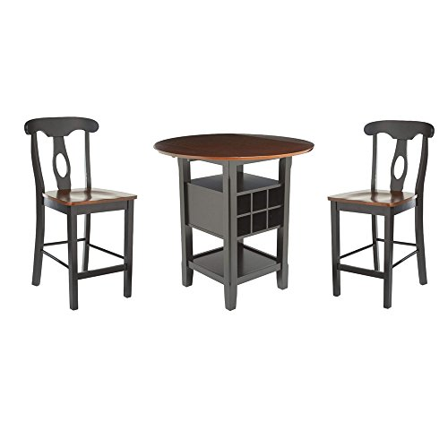 ghy Pub Bistro Table Set Black and Espresso Wine Bar Rack Storage Shelf Counter Height Napoleon Design Chairs Round Drop Leaf Top Comfortable Modern &eBook by JEFSHOP