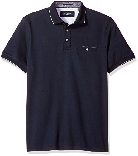 Ted Baker Men's Clay-Flat Knit Collar Polo, Navy, Large (5)