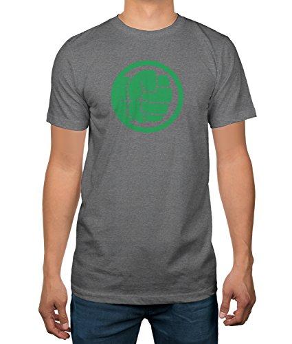 Fist Adult T-shirt (The Hulk Green Fist Logo Men's Grey T-Shirt (Medium, Hulk))