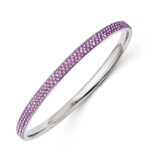 En acier inoxydable poli Bracelet JewelryWeb Cristal Violet Clair