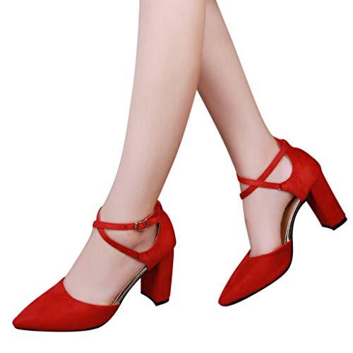 Tacchi Alti Alto Rosso Estate Incrociato Elegante Sandali A Cinturino Donna Tacco Casual Meibax Lavoro Scarpe Punta Da 1wWHEFq5