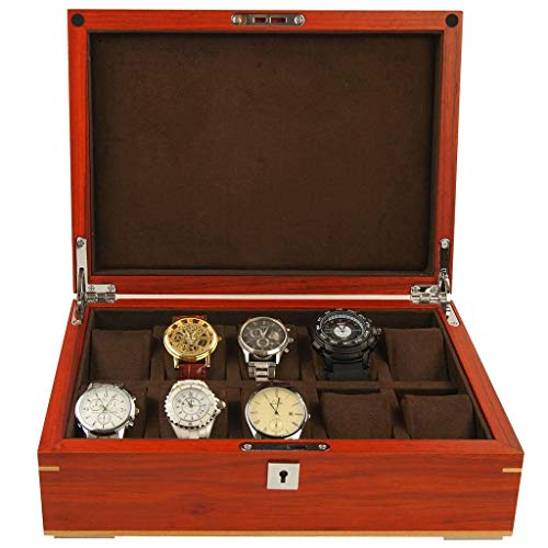 - GOVD Mens Watch Box Wood Personalized Watch Display Case Large Holder, for Men Women