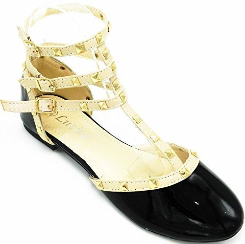 Ballet AnkleTie Flat Pump Pat Womens Toe Up Round Lace Shoes T Strap Buckles Studded Black q0Zvwp