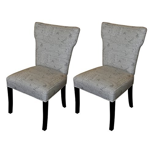 Sole Designs Bella Collection Modern Wingback Upholstered Dining Chair, Spring Seating Slipper/Side Chair, News Stamp Series, Storm (Set of 2) For Sale