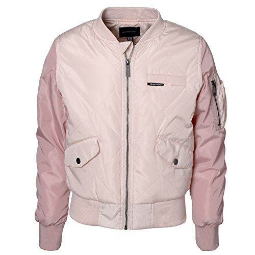 Members Only Big Girls Bomber Jacket  Quilted, Ribbed Collar, Cuffs & Waist, Pink, Size (Girls Quilted Bomber Jacket)