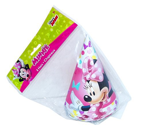 Minnie Mouse Party Hat - Minnie Mouse Bowtique Cone Party Hats, 8 Count