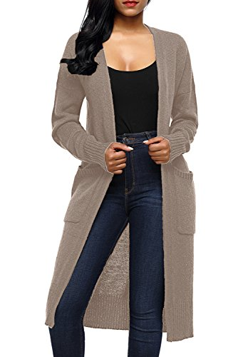 Long Khaki - AlvaQ Fall Lightweight Maxi Long Duster Sweater Cardigans For Women With Pocket Cheap Autumn Plus Size Khaki