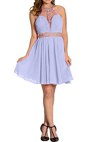 Steine Linie Ivydressing Brautjunfernkleid Chiffon Partykleid Kurz Damen Elegant Abendkleid Lila A RXqRwt