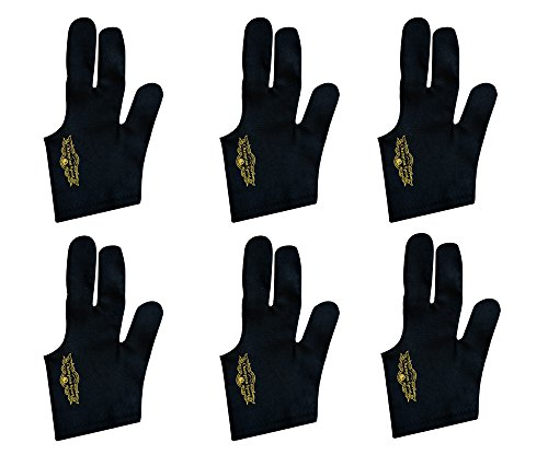 Lot of 6 Champion Sport Black Pool Glove Left Handed (6 Gloves Per Package)