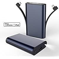 Hobest Palm-sized 9000mAh Portable Charger, [Apple MFI Certificated] Portable Phone Charger External Battery Pack Power Bank Built-in Lightning Connector and Micro USB Cable, Fast Charging