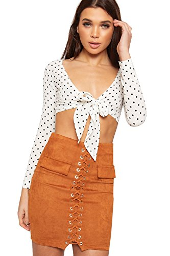 WearAll Women's Polka Dot Spotted Print Long Sleeve Tied Front Crop Top Crepe - White - US 10 (UK 14)