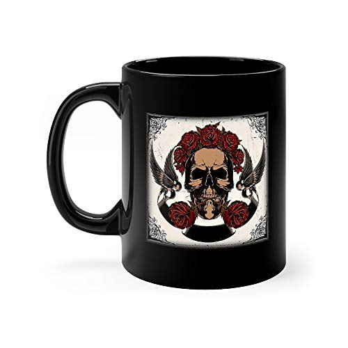 (Skull In Roses Coffee Mug Ceramic Cups 11 Oz)