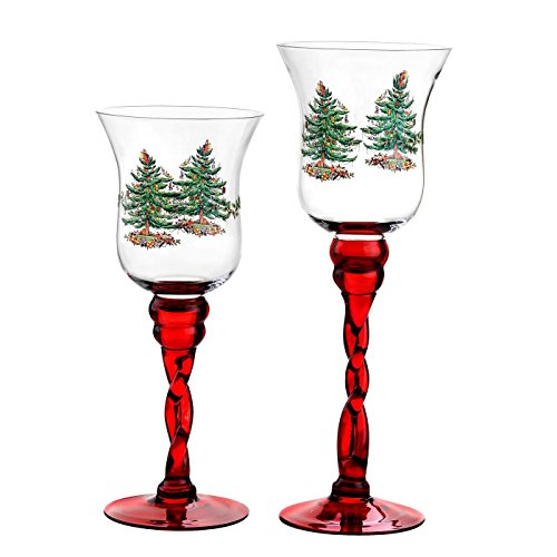 (Spode Christmas Tree Glass Fluted Red Footed Candle Holders, Set of 2)