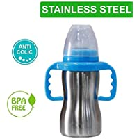 HONEY BABY Thermal Insulation Stainless Steel Baby Feeding Bottle - 290 ml (Blue)