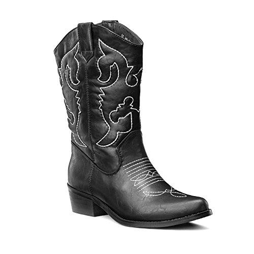 Lara's Womens Western Cowboy Boots Mid Calf Pointed Toe Black US 9.5