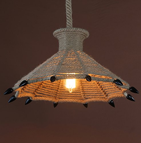 Onfly American Retro Industrial Style Iron+hemp Rope Downlight Chandelier Diamond/Birdcage/Bear's Paw Shape Single Head Pendant Lamp Personality Hanging Line Lamp(Without Bulb) (Style : A)