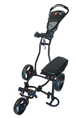 Rolling Saddle Cart - Spider 3 Wheel Golf Cart with Seat (Black)