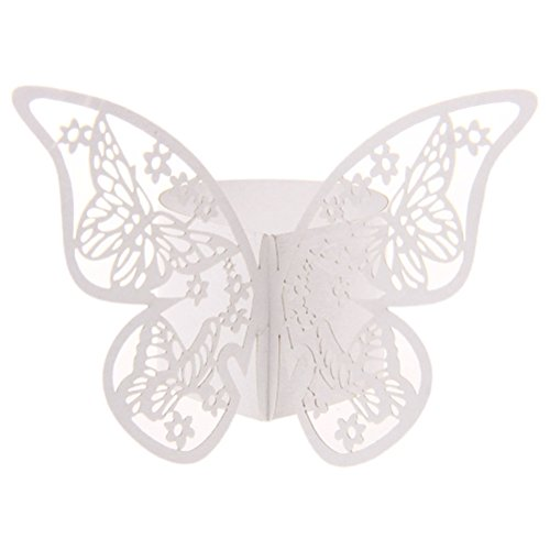Napkin Rings - 50pcs White Pink Color Butterfly Napkin Ring Serviette Holder Wedding Party Banquet Dinner Decor - Wedding Purple Heart Asparagus Motorcycle Ocean Dogs Leather Twig Silver Knot