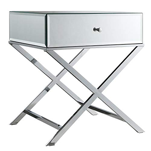 Campaign Accent - Inspire Q Camille X Base Mirrored Accent Campaign Table by Bold Chrome Finish Mirrored Finish, Chrome Finish