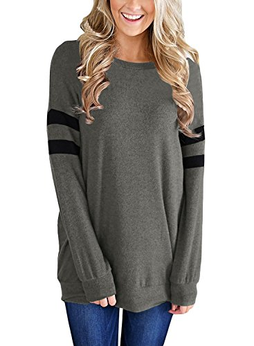 Womens Casual Lightweight Color Block Long Sleeve Sweatshirt Tunic Tops