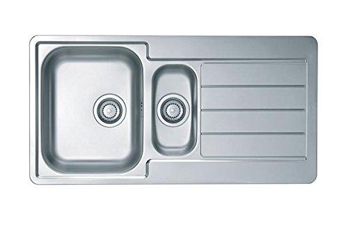 Mebasa Küchenspüle SPL10, Edelstahl Spülbecken mit zwei Becken und Ablagefläche, design Einbauspüle in satiniertem Edelstahl, 3tlg. Set inkl. Überlaufventil und Befestigungsklammern, Spüle ohne Armatur, Maße 980x500x160 mm