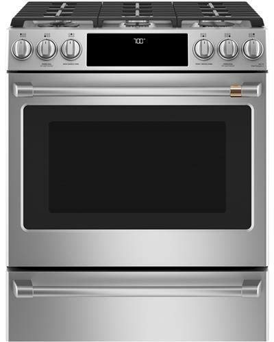 Cafe 30″ Smart Slide-In, Front-Control Gas Range with Convection Oven Stainless Steel CGS700P2MS1