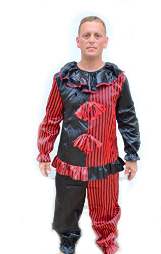 (Acid Tactical Creepy Scary Halloween Black & Red Striped Adult Mens Clown Costume Outfit)