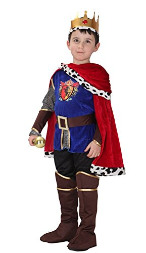 Kalanman Children Boys Halloween Dress Up & Role Play Costume Medieval Prince King Warrior Outfit (L(Fit for 7-9 Age), Prince 52) -